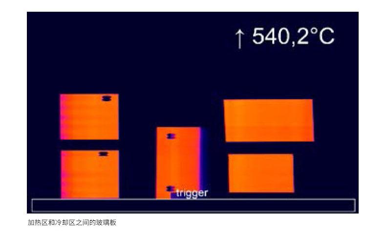加热区和冷却区之间的玻璃板