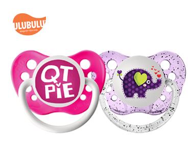 ULUBULU无比乐0-6个月新生儿宝宝无比乐字母QT饼& 大象两入组安抚奶嘴