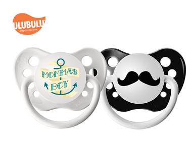 ULUBULU无比乐字母妈妈的男孩& 胡子两入组6-18个月宝宝安抚奶嘴
