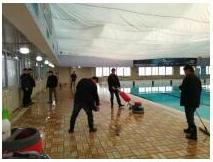 上海市静安区体育中心游泳馆地面防滑处理工程施工现场