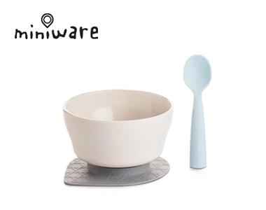 miniware天然竹纤维环保辅食儿童餐具组麦片碗加硅胶勺