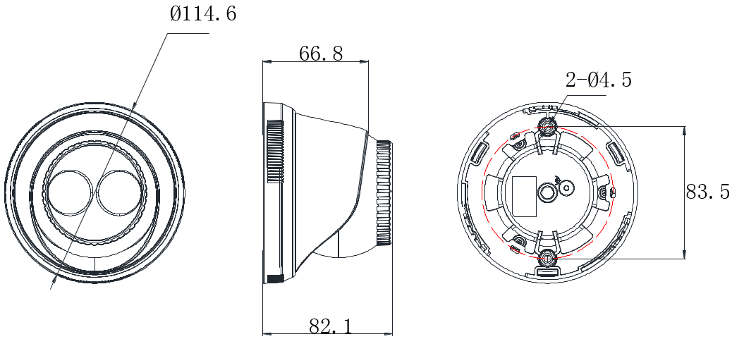 紅外半球DS-2CD3325(D)-I外形尺寸