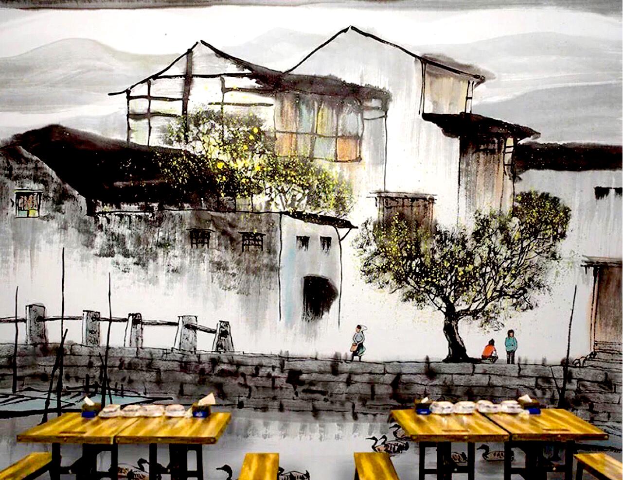 上海持凡墙体彩绘专业提供餐厅彩绘服务