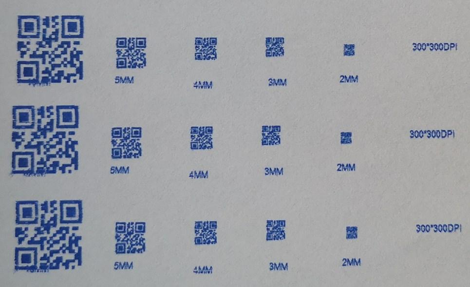 上海迪科用2585B快干墨盒喷印二维码的极限测试
