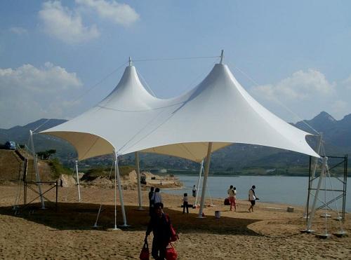 沙滩景区膜结构张拉棚