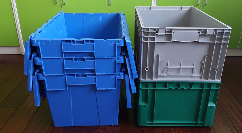 斜插箱和EU箱空箱儲存方式對比