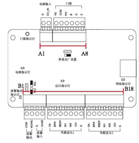 ??低昁28系列門禁主機接門鎖和開門按鈕方法
