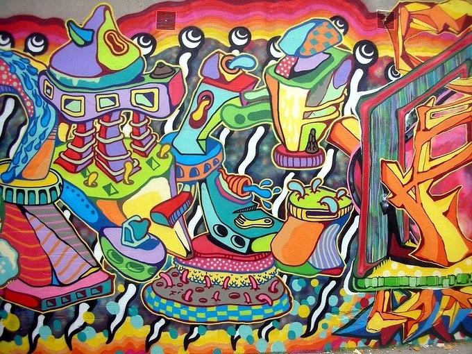 美食街墙体彩绘