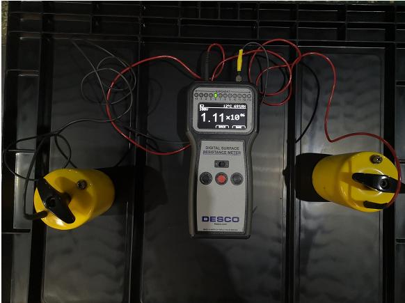 防静电塑料物流箱重锤仪器表面电阻测试