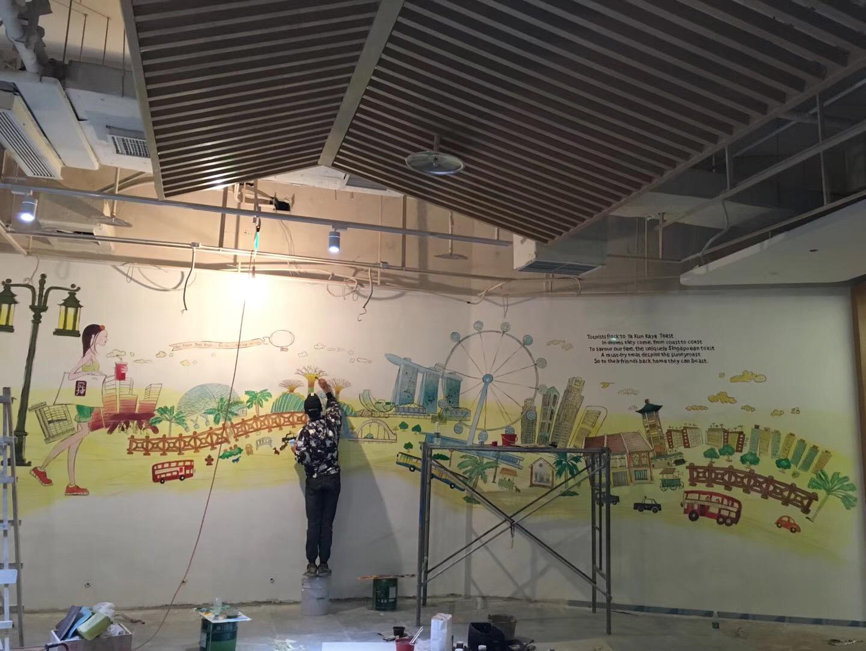 奶茶店墙体彩绘