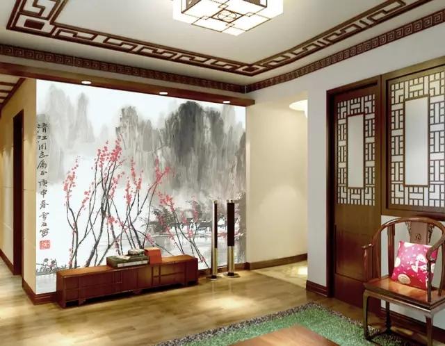新中式电视背景墙彩绘