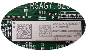 激光打标机给PCB电路板打二维码效果