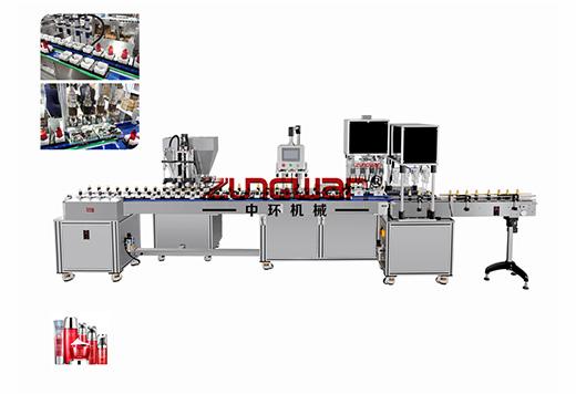 ZHSR-4C四头水乳膏霜灌装旋盖一体机