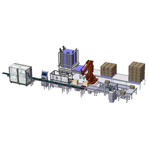 Full automatic opening&filling&sealing&packaging production linkage line