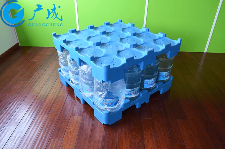 桶裝水1080九腳塑料托盤裝載套疊實拍