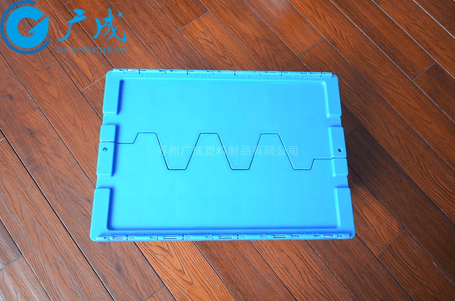 箱蓋四周凹槽防滑設計,防止堆碼時傾倒,滿載堆碼運輸時不會滑垛