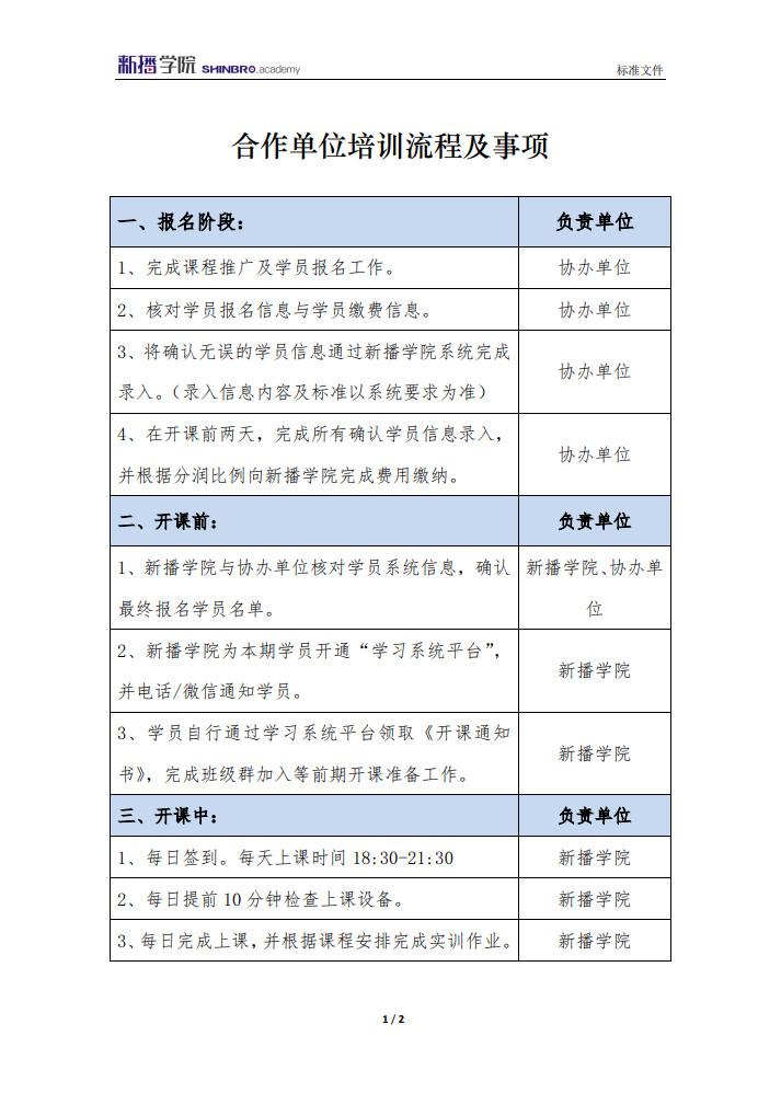 合作单位培训流程及事项