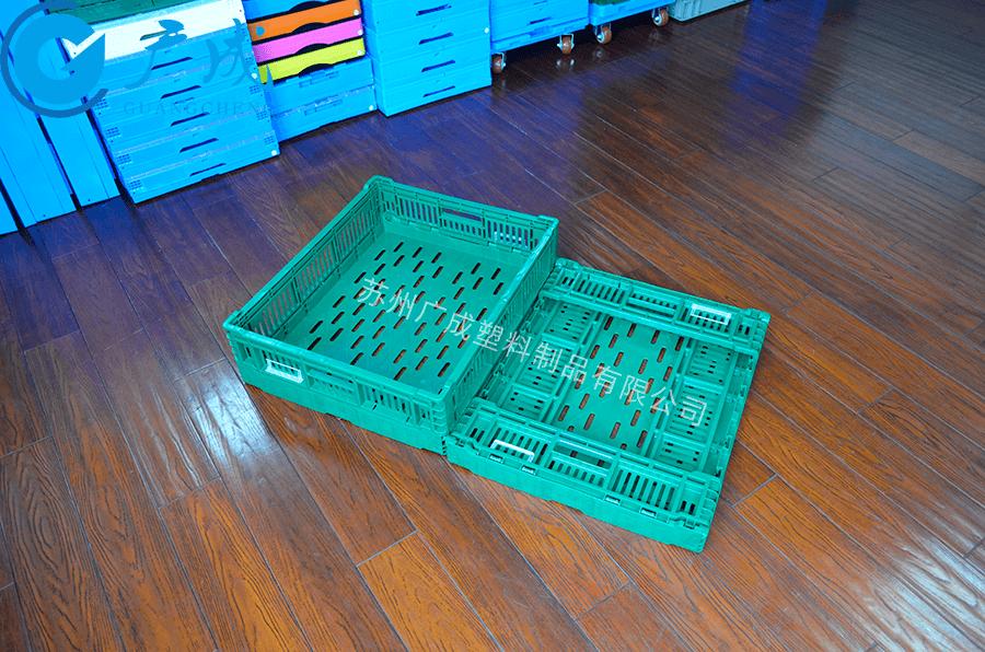 600*500*170塑料折疊筐展開折疊對比