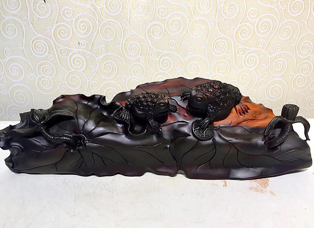 老挝大红酸枝根雕摆件 红木工艺品 中式摆件
