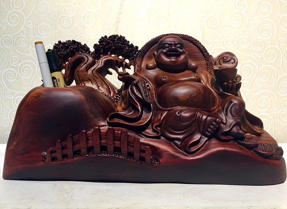 赞比亚血檀家具摆设办公桌摆件笔筒木雕工艺品雕刻木质工艺 礼品