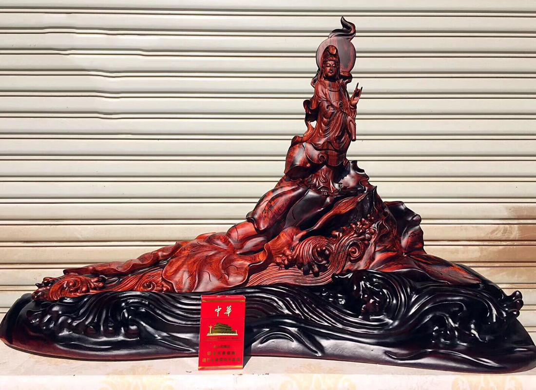老撾大紅酸枝木雕佛像 根雕工藝品手工雕刻木制品觀音 打木架