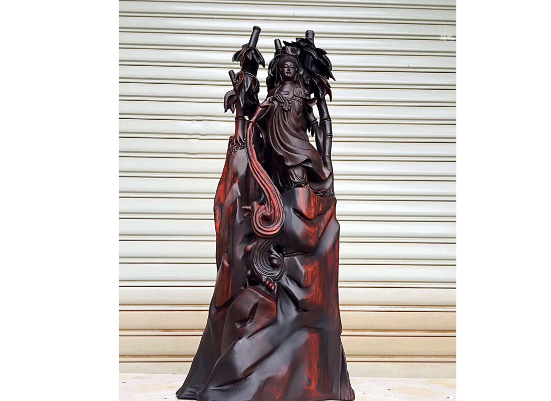 老挝大红酸枝木雕佛像 根雕工艺品手工雕刻木制品观音 打木架