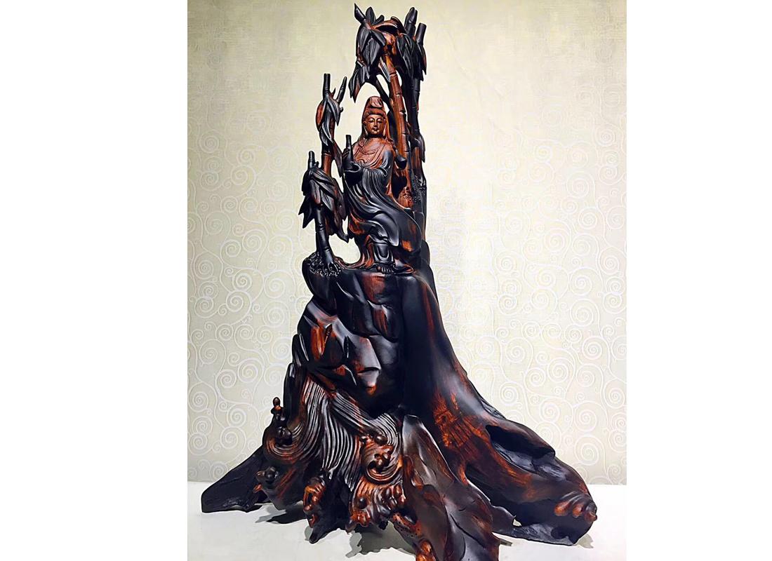 大红酸枝木雕摆件观音佛像雕刻家居摆设根雕工艺品 手工木制品
