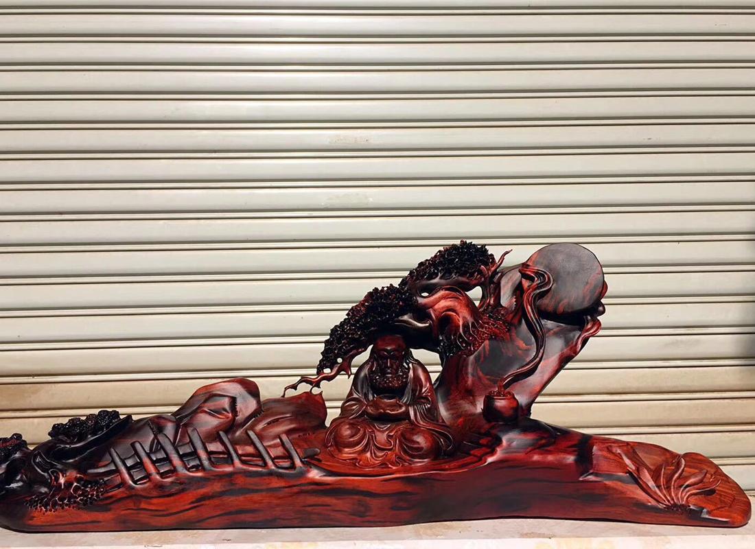 茭趾黄檀木雕工艺品老挝大红酸枝根雕雕刻木质工艺品茶艺会所摆件