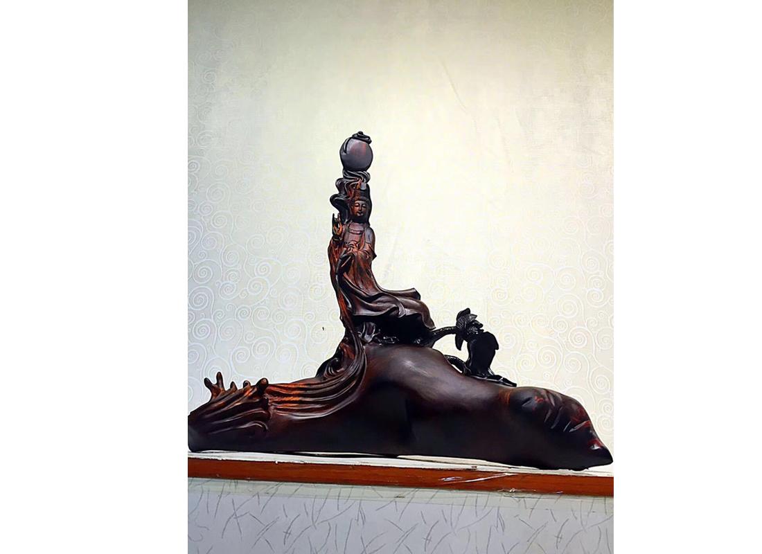 老挝大红酸枝木雕摆件观音佛像雕刻家居装饰根雕工艺品手工木制品