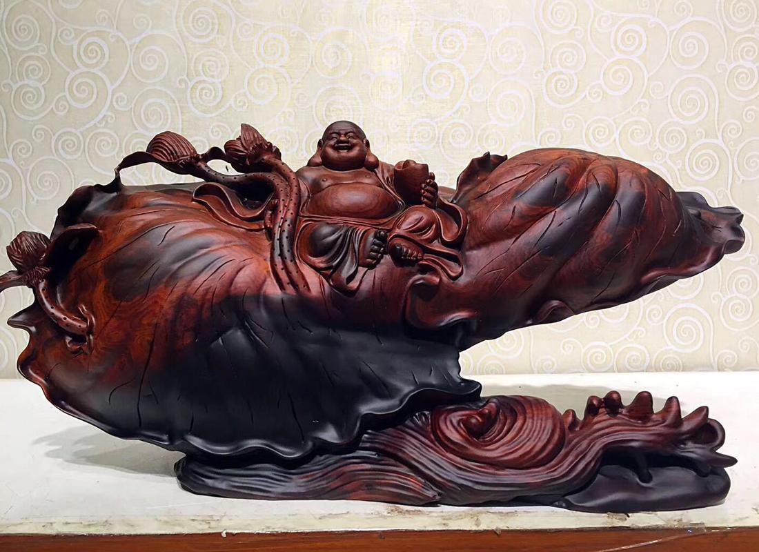 老挝大红酸枝木雕根雕佛像雕刻家居中式摆件全手工制作木质工艺品