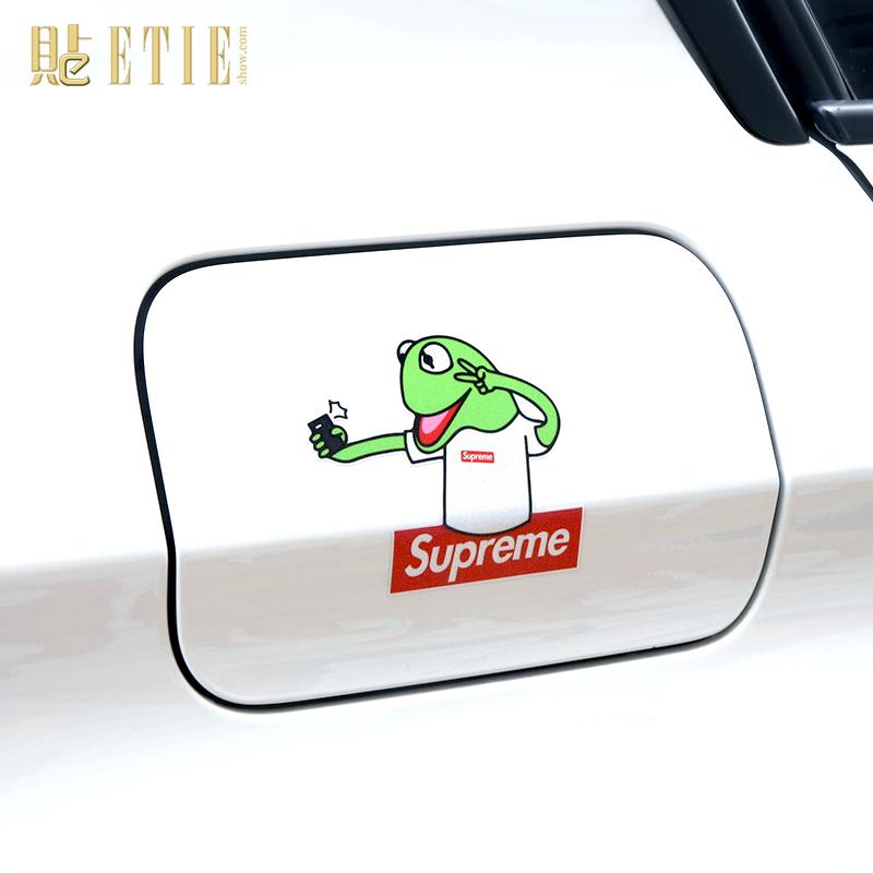 supreme反光潮流卡通车贴