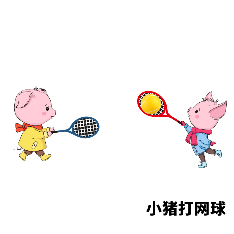 小猪踢球雨刮车贴