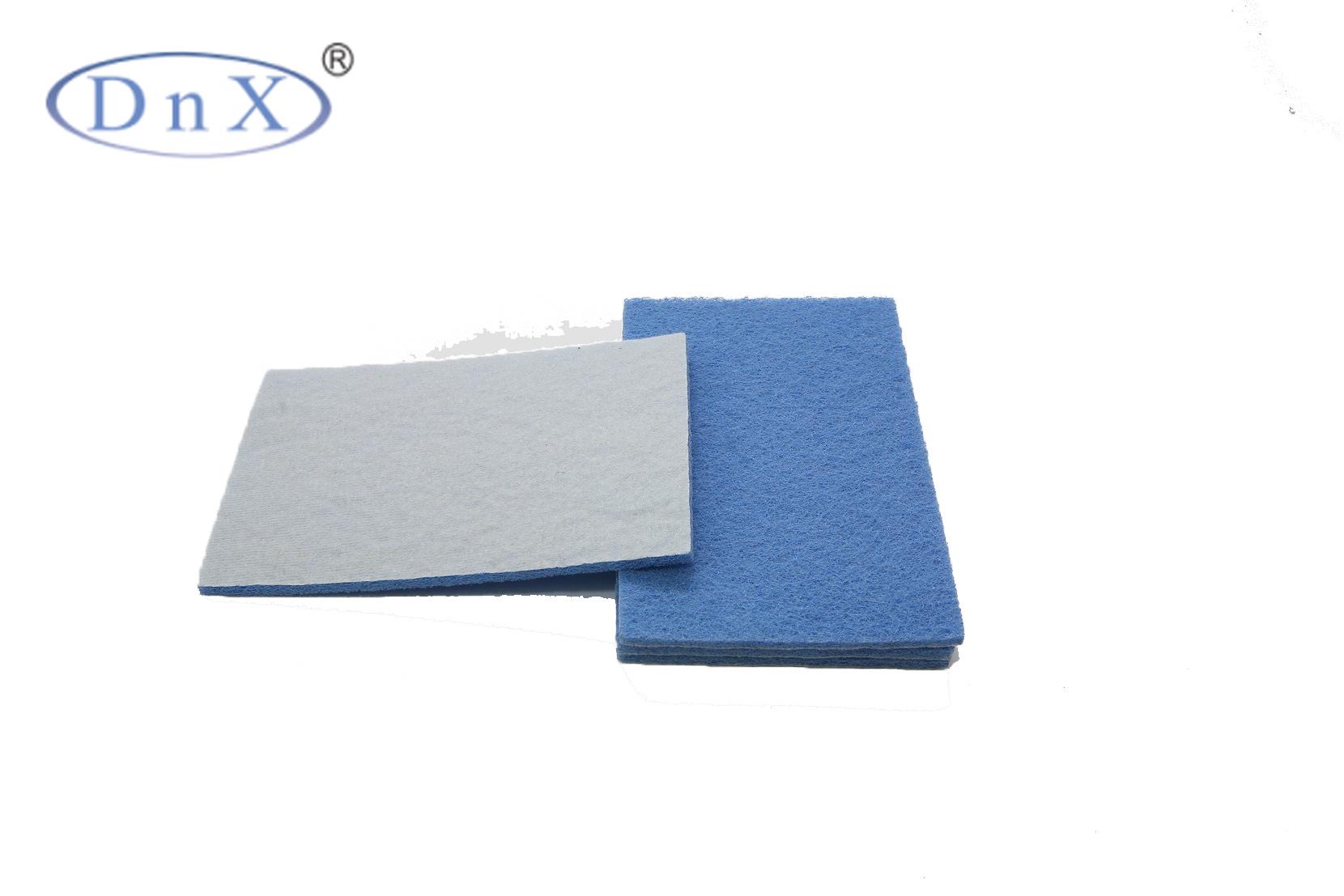 蓝色植绒方形百洁布