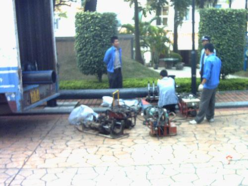 PE水管施工材料现场