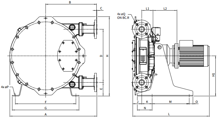Bredel软管泵Bredel 40 / Bredel 50尺寸图
