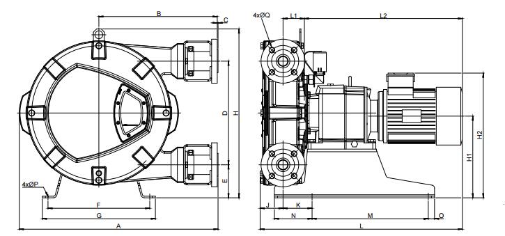 Bredel软管泵Bredel 25 / Bredel 32尺寸图
