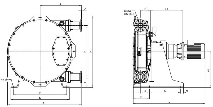 Bredel软管泵Bredel 65 / Bredel 80 / Bredel 100尺寸图