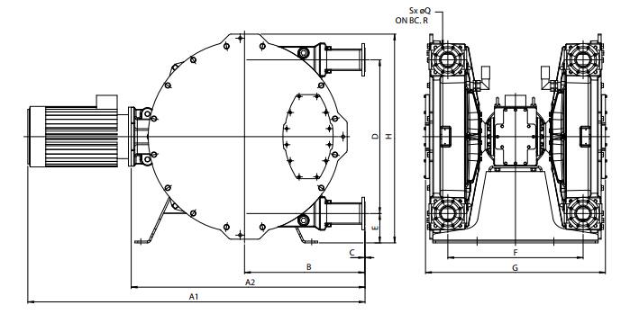 Bredel软管泵Bredel 265 / Bredel 280 / Bredel 2100尺寸图