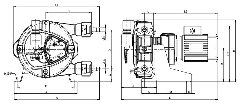 Bredel DuCoNite 10, DuCoNite 15 , DuCoNite 20泵尺寸图