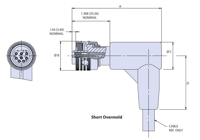 Glenair直角电缆连接器插头G55 R1系列尺寸图