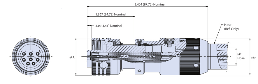 Glenair G55 OF带夹紧软管的充油直线电缆连接器插头(CCP-OF)尺寸图