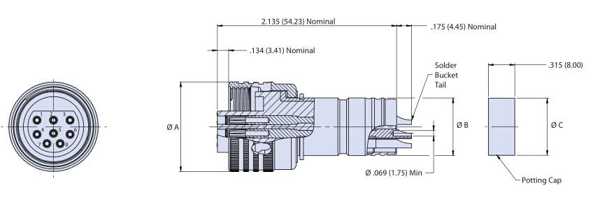 Glenair电缆连接器插头G55 A1和G55 OFA1系列尺寸图