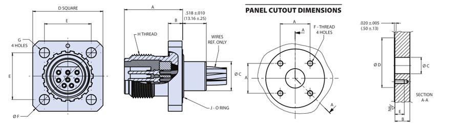 Glenair干式深海可转位法兰插座连接器G55 06IF系列