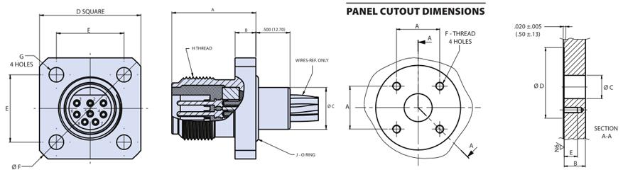 Glenair干式深海法兰连接器插座G55 06系列尺寸图