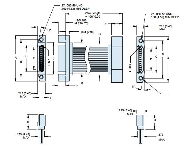 Glenair背靠背电缆组件,通孔和螺钉 - 尺寸