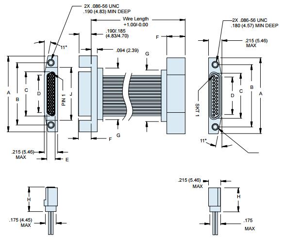 Glenair背靠背电缆组件,整体式插座尺寸