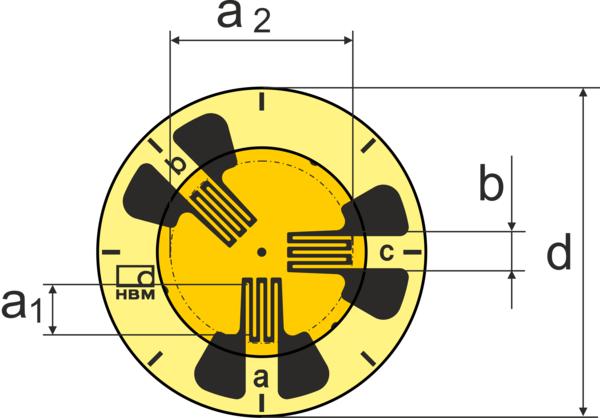 HBM RY3圆形应变片带焊片