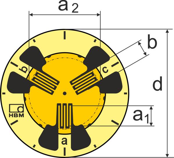 HBM RY7圆形应变片带焊片
