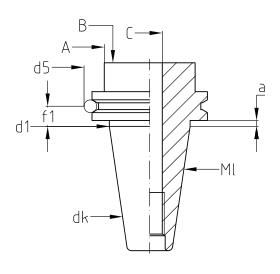 Diebold 7:24锥度刀柄用V型法兰槽检测尺寸