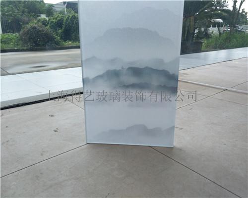 山水画夹丝玻璃